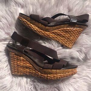 BCBG Brown & Tan Wedge Heel Sandals 9.5